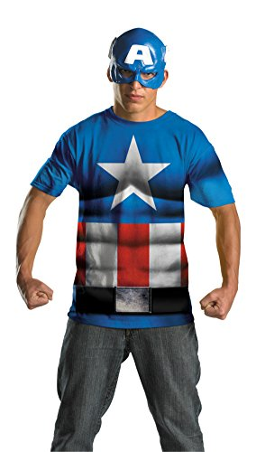 Disguise Mens Captain America No Scar Fancy Dress Alternative Superhero Costume, Plus (Plus Size Captain America Costumes)