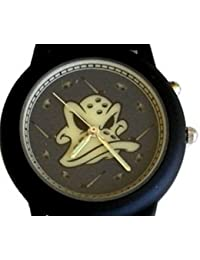 """Mighty Ducks"" Collectible Retro Theme Black Metal Watch with 'Light Up Dial' and Black Leather Strap"