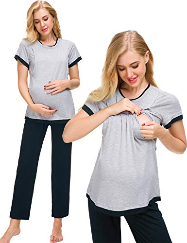 Romanstii Women's Maternity Pajamas Set Short Sleeve Baseball Nursing Nightgown for Breastfeeding Sleepwear (Cotton Nursing Pajama Set)