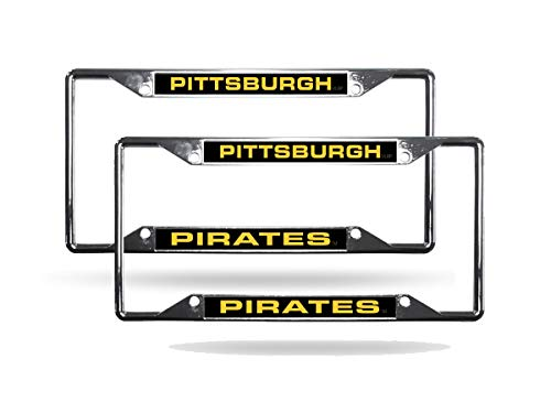 - Rico Pittsburgh Pirates MLB (Set of 2) All Corner EZ View Chrome Metal Laser Cut License Plate Frames