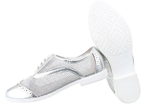 Damen Halbschuhe Schuhe Schnürer Elegant Schwarz Silber 36 37 38 39 40 41 Silber