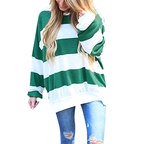 Xinantime Loose Blouse Tops Striped Patchwork Pullover T Shirt Teen Girl Casual Print Long Sleeve Pullover ()