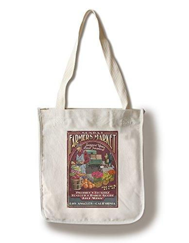Los Angeles, California - Farmers Market Vintage Sign (100% Cotton Tote Bag - Reusable)