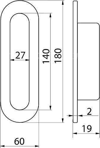 T/ürmuschel rund 180 mm x 60 mm Edelstahl Muschel Schiebet/ür Griff