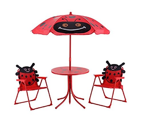Outdoor Kids Chairs Set - USA Premium Store Kid Patio Set Table With 2 Folding Chairs w/ Umbrella Beetle Outdoor Garden Yard