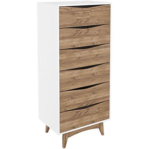 - Manhattan Comfort CS48408 Hamilton Tall Narrow Midcentury Dresser, White/Natural Wood