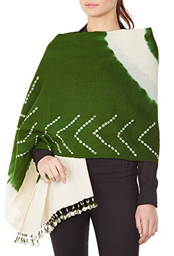 Green Cream Women'S Accessory Shawl Indian Handmade Woolen Tie-Dye Gifts 36X80 by ShalinIndia