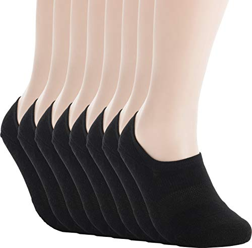 Pro Mountain Women's No Show Flat Cushion Athletic Cotton Footies Sneakers Sports Socks (S(US Women Shoes 5.5~7.5), Black 8pairs Pack S-size)