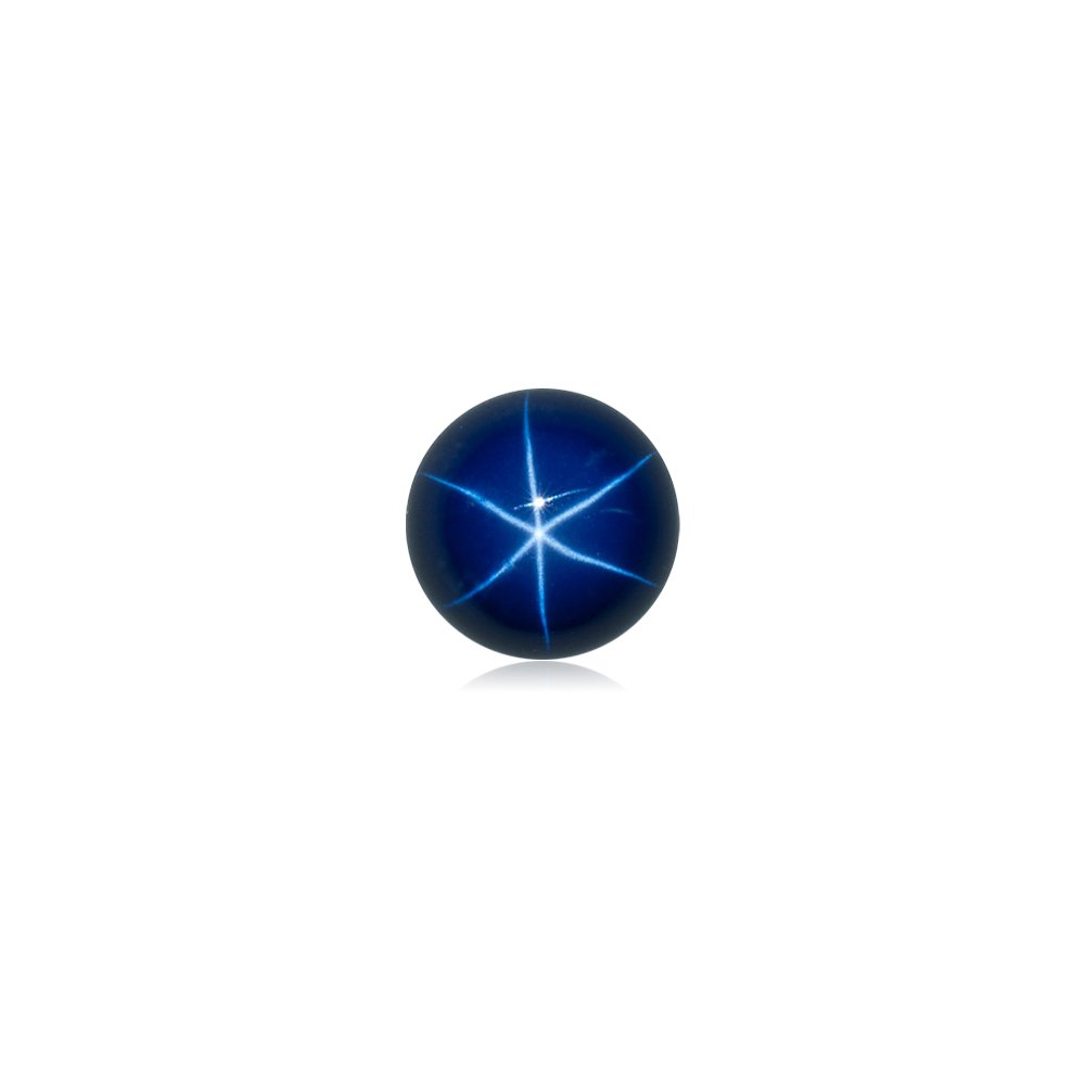 Mysticdrop 2.60-2.95 Cts of 8 mm AAA Round Cut German Lab Created Star Sapphire Cabochon (1 pc) Loose Gemstone