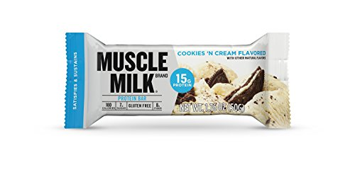 Muscle Milk Protein Bar, Cookies 'N Cream, 15g Protein, 12 count (Bar Creme Protein Cookies)