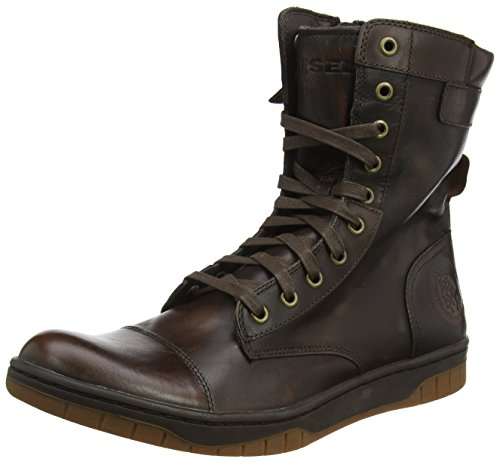 Diesel Men's Tatradium Basket Butch Zip Combat Boot, Coffee Bean, 10 M US