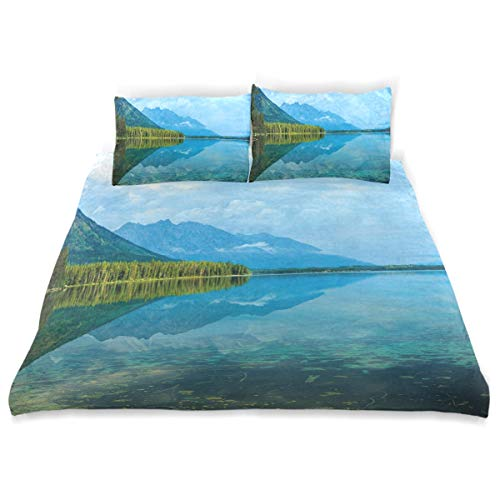 YCHY Decor Duvet Cover Set, Leigh Lake Landscape with Amazing Sky Reflections Calm Water A Decorative 3 Pcs Bedding Set with Pillowcases, Queen/Full