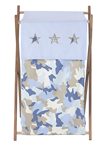 Sweet Jojo Designs Baby and Kids Clothes Laundry Hamper - Blue and Khaki Camo Army Military Camouflage