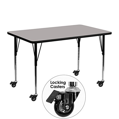 Flash Furniture Mobile 24''W x 48''L Rectangular Grey HP Laminate Activity Table - Standard Height Adjustable Legs
