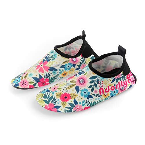 Adorllya Water Shoes Aqua Socks Water Socks Swim Shoes for Kids Toddlers Boys Girls,Red Flower,13-1M Little kid