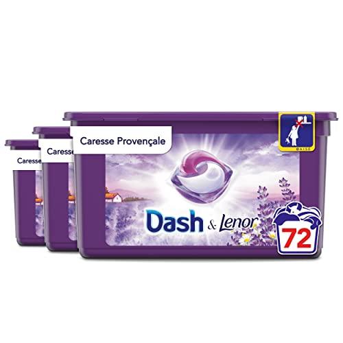 Dash Allin1 Caresse Provençale Lessive Capsules, 72 Lavages (24 Pods x 3), Parfum Longue Durée et Protège Les Fibres