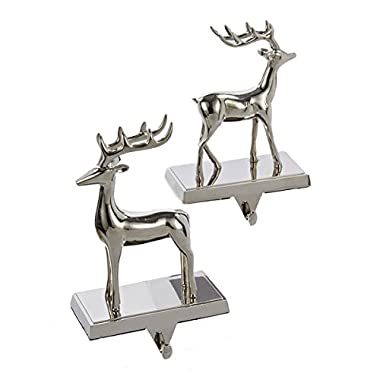 Metal Silver Reindeer Stocking Holder Set Of 2