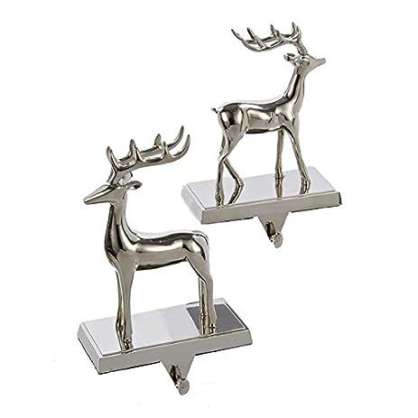 metal silver reindeer stocking holder set of 2 - Reindeer Images 2