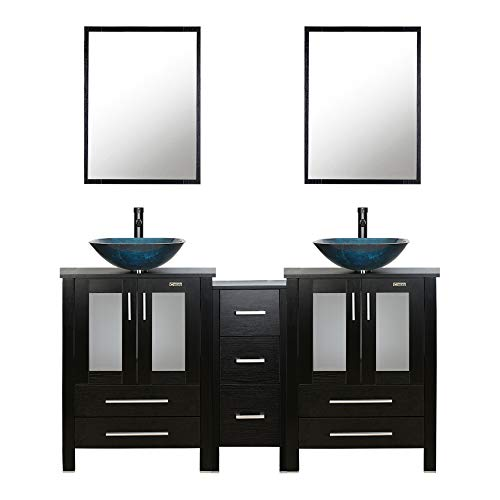 "60"" Black Bathroom Vanity,Double Vanity,0.5""Tempered Glass Vessel Sink(Sea Blue),ORB Faucet,Drain Parts,Bathroom Vanity Top,Glass Sink Bowl,Removable Vanity Pedestal,MDF board,Mirror,Mounting Ring"