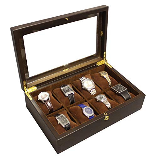 Watch Box Wooden 8 Slots Watch Case Jewelry Display Storage Boxes Showcase Organiser with Glass Top and 8 Removal Storage Pillows for Men Women