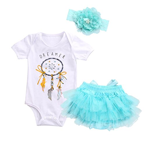 XILALU Newborn Baby Girls Dreamcatcher Romper + Tutu Skirt Tulle Outfits Clothes 3Pcs Set (White, 3M)