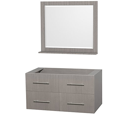 Oak Vanity Bathroom Unit (Wyndham Collection Centra 42 inch Single Bathroom Vanity in Grey Oak, No Countertop, No Sink, and 36 inch Mirror)