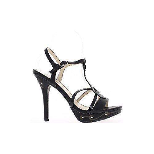 Sandales noires à talons de 12,5cm et plateau de 3cm avec strass