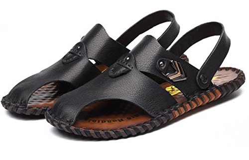 Scarpe da uomo YCMDM della pelle bovina Beach britannica tempo libero anti - scivolo sandali Leather Shoes , black , 40