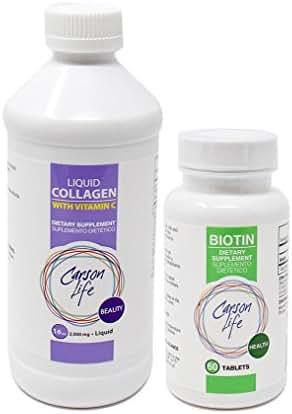 CARSON LIFE - Biotin Supplement (1 Bottle, 60 Tablets) Bundle With Vitamin C Liquid Collagen - (1 Bottle, 16 Oz) - For Men & Women - Vitamin Promotes Hair Skin and Nails - Immune Support