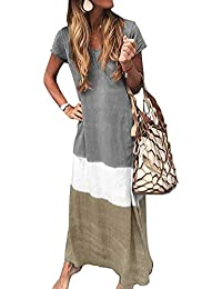 ORANDESIGNE Summer Dresses Women Short Sleeve Loose V Neck Beach Long Dresses Boho Maxi Dresses Bohemian Cotton Linen Dress