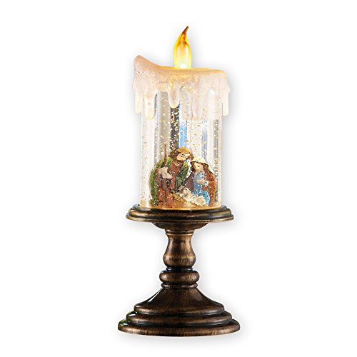 Scene Snowglobe Nativity (Nativity Scene Christmas Snow Globe Candle Decoration)
