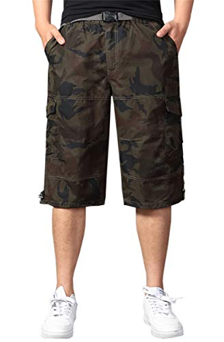 - Men's Camo Capri Cargo Long Short, Baggy Loose Fit Multi Pocket Shorts for Big & Tall, L01 Olive Green, US 42 = Tag 44