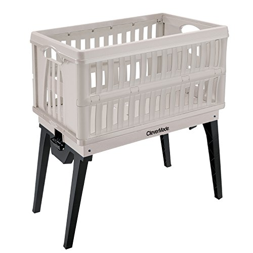 CleverMade 60L CleverCrate Lift - Collapsible Plastic Laundry Basket with Fold Down Retractable Legs and Side Handles, - Basket 60l