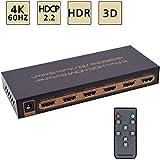 4K@60Hz HDMI Switch 5x1 Awakelion Premium 5 in 1 Out 4K HDMI Switch with IR Remote Support Auto-Switch