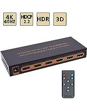 Awakelion 4K@60Hz HDMI Switch -Umschalter 5x1 Premium Quality 5-in-1-Out-HDMI-Umschalter mit IR-Fernbedienung, HDCP 2.2, UHD, HDR, Full HD / 3D