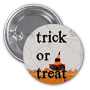 Trick or Treat Halloween Fun Wizard Hat with Sunglasses Pumpkins & Spiderwebs Design 2 PACK of 3 Inch Buttons Flare by Trendy Accessories