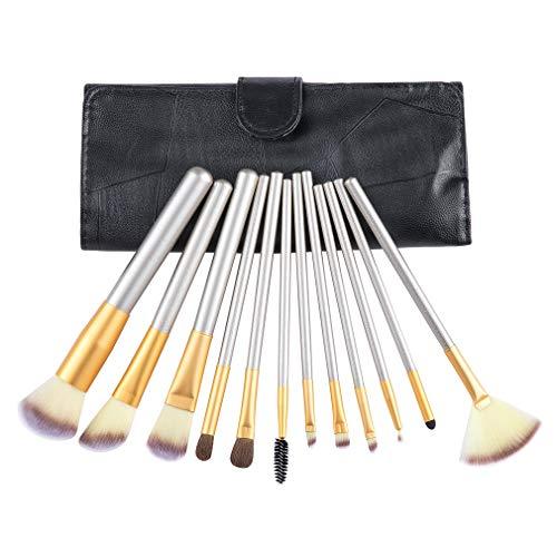 Chifave Makeup Brush Set Professional Face Eye Shadow Eyeliner Foundation Blush Lip Powder Liquid Cream Premium Cosmetic Brushes, PU Leather Brush Holder, 12 Pieces (12 Pcs, Black)