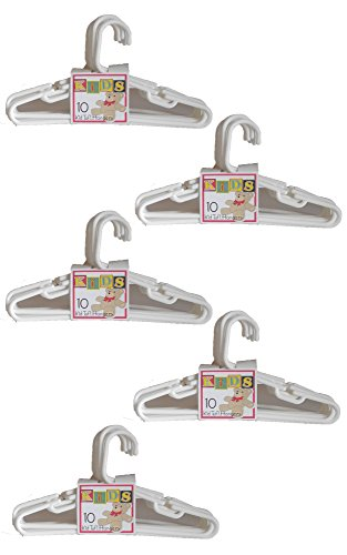 Set of 50 Kid Tuf! White Kid-Sized Clothing Hangers