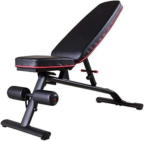 USTHOY アジャスタブル重量ベンチホーム腹筋スツールホームフィットネス機器の多機能フィットネスチェアアジャスタブルトレーニングスツールの積載重量 (Color : Black, Size : 113.4x43x45cm)