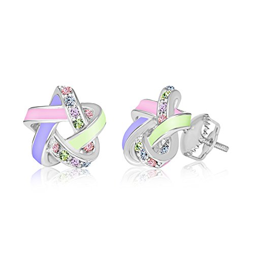Premium Crystal with Enamel Screwback Kids Baby Girl Tween Earrings With Swarovski Elements By Chanteur   925 Sterling   Perfect Gift For Children (Swarovski Earrings For Baby)