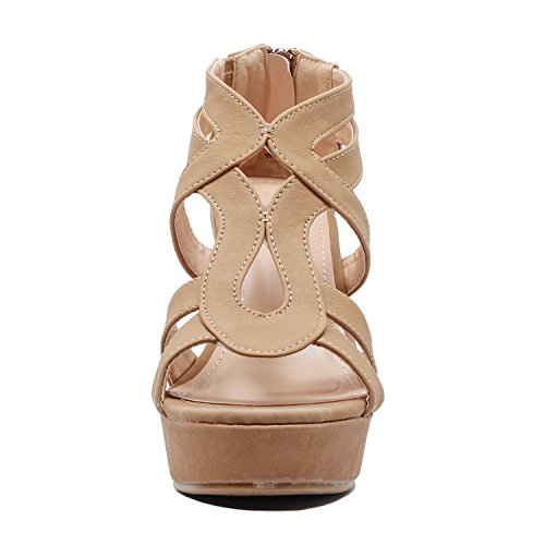 Platform Strappy Open Heart Pu Tanv2 Toe Womens Wedge Sandals Gladiator Guilty Comfortable wxRBAqpq