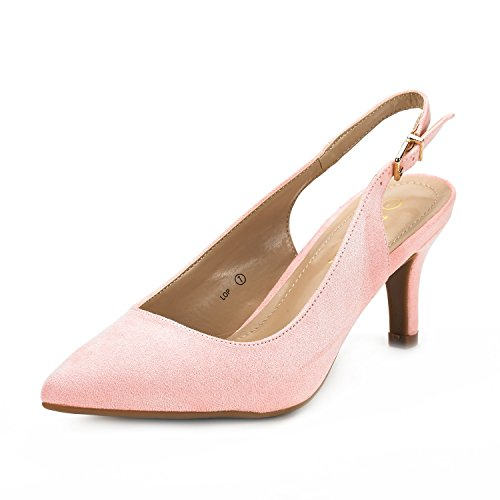 Dream Pairs Women's LOP Pink Suede Low Heel Pump Shoes - 6.5 M US (Shoes Heels Sandals Pink)