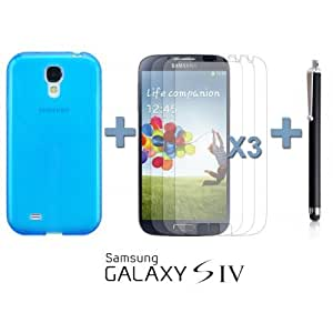OnlineBestDigital - Colourful Transparent Gel Case for Samsung Galaxy S4 IV I9500 / I9505 - Blue with 3 Screen Protectors and Stylus