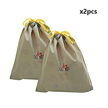 ノーブランド品 巾着袋 同じ柄 2枚セット (Lサイズ, グレー)