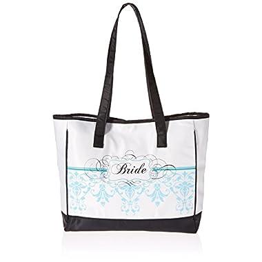 Lillian Rose Bride Tote, 13-Inch by 12-Inch, Aqua