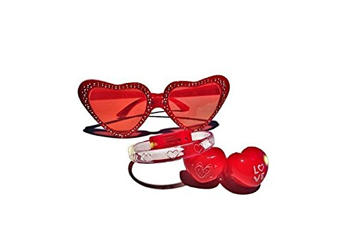 Valentine Day Jeweled Heart-shaped Glasses, LED Light Up Bracelet and Light Up Rings by Greenbrier -