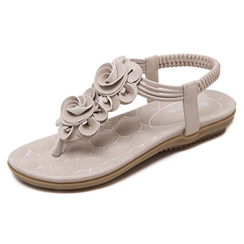 CARETOO Women's Summer Bohemian Flat Sandals Thong T-Strap Flower Slip on Flip Flops Shoes (Flower Shoes Thong Sandal)