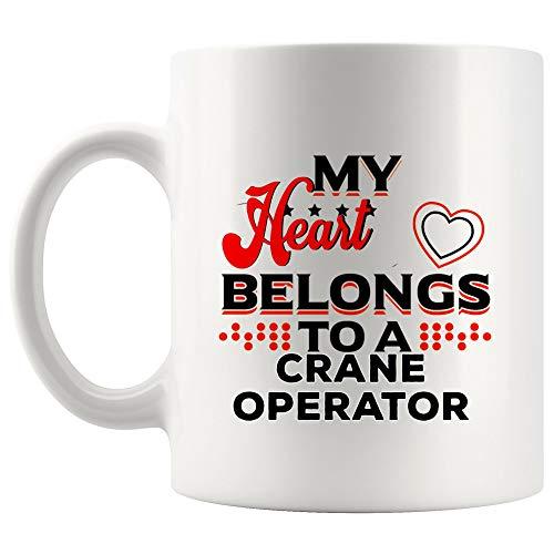 My Heart Belong Crane Operator Mug Coffee Cup Love Couples Wife Husband Girlfriend Boyfriend Valentine | Gift for 911 Operations Management Coffee Cup Crane Operator Mugs Freedom Gifts ()