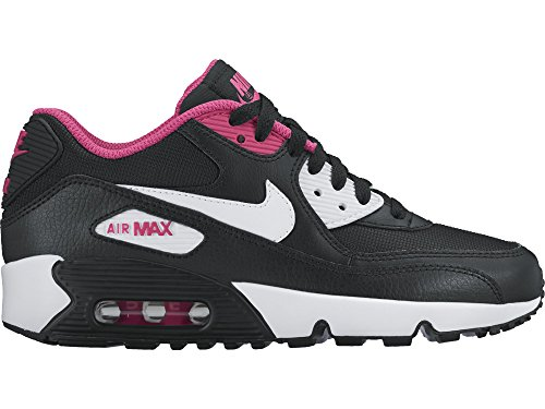 Nike Kid's Air Max 90 Mesh GS, BLACK/WHITE-VIVID PINK, Youth Size 6.5