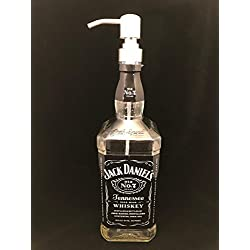 Glass Dispenser for Soap/Lotion - Waterproof Label - Jack Daniel's - Reclaimed Bottle - 750 ML